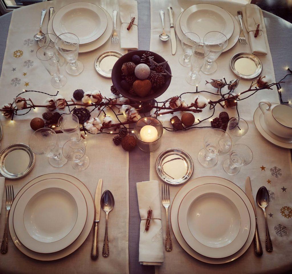 decoración mesas navidad manteles
